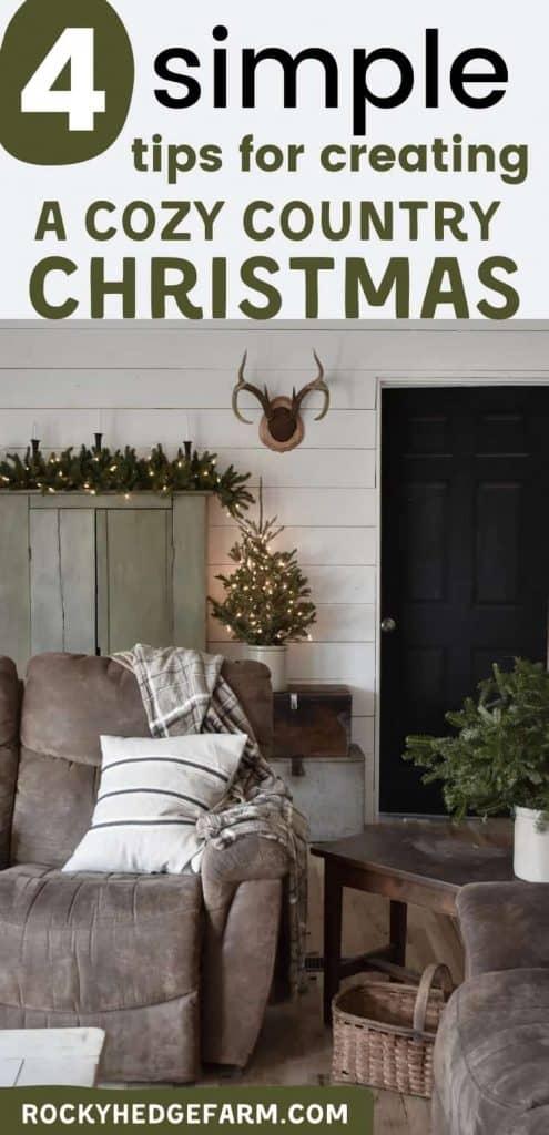 cozy rustic farmhouse Christmas living room
