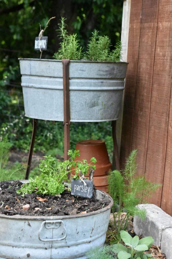 Vintage Galvanized Washtub with Stand