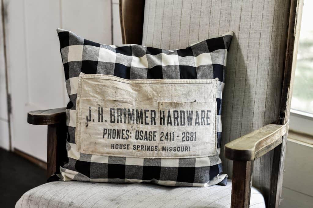 Vintage Hardware Nail Apron | Envelope Pillow Cover Tutorial