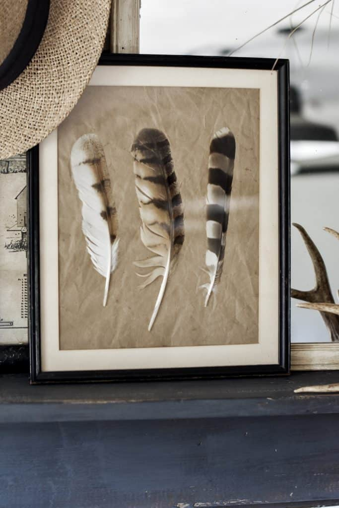 DIY Framed Feather for a Rustic Fall Decorating Style