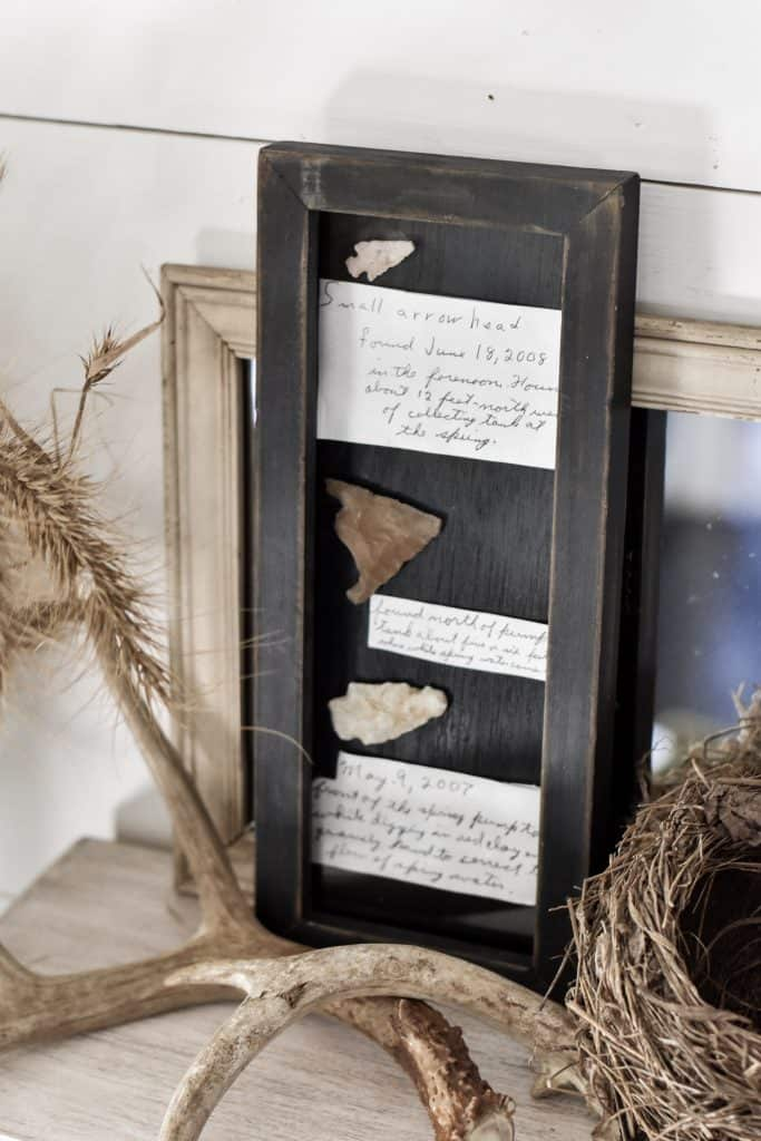 DIY Free Cheap Fall Decor - Framed Arrowheads