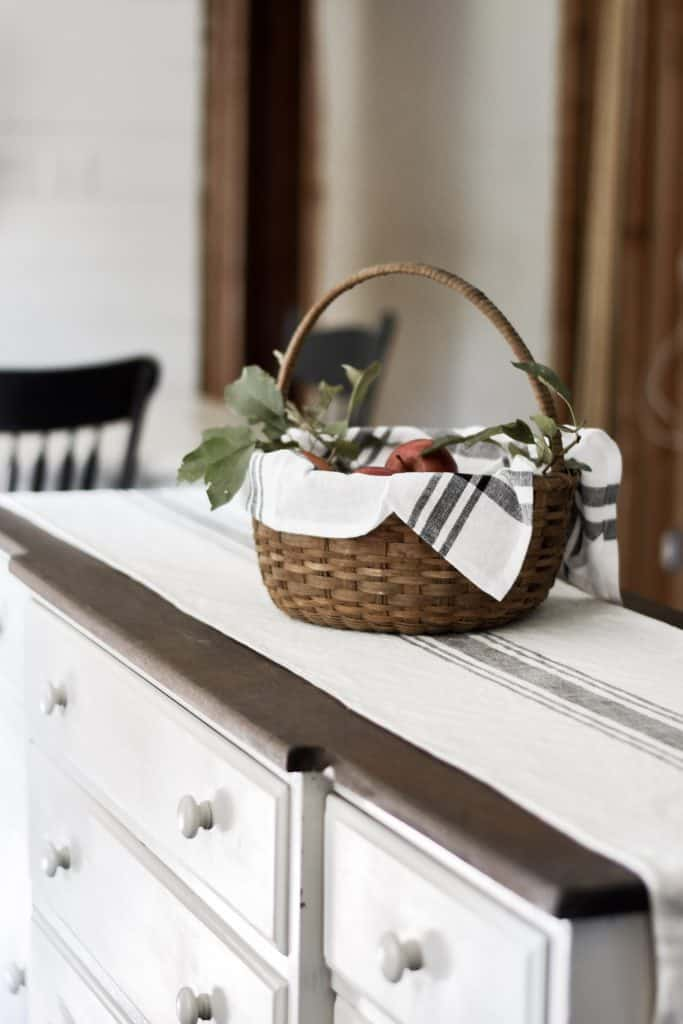 Antique Basket on Refinished Madeover Antique Buffet as Kitchen Island