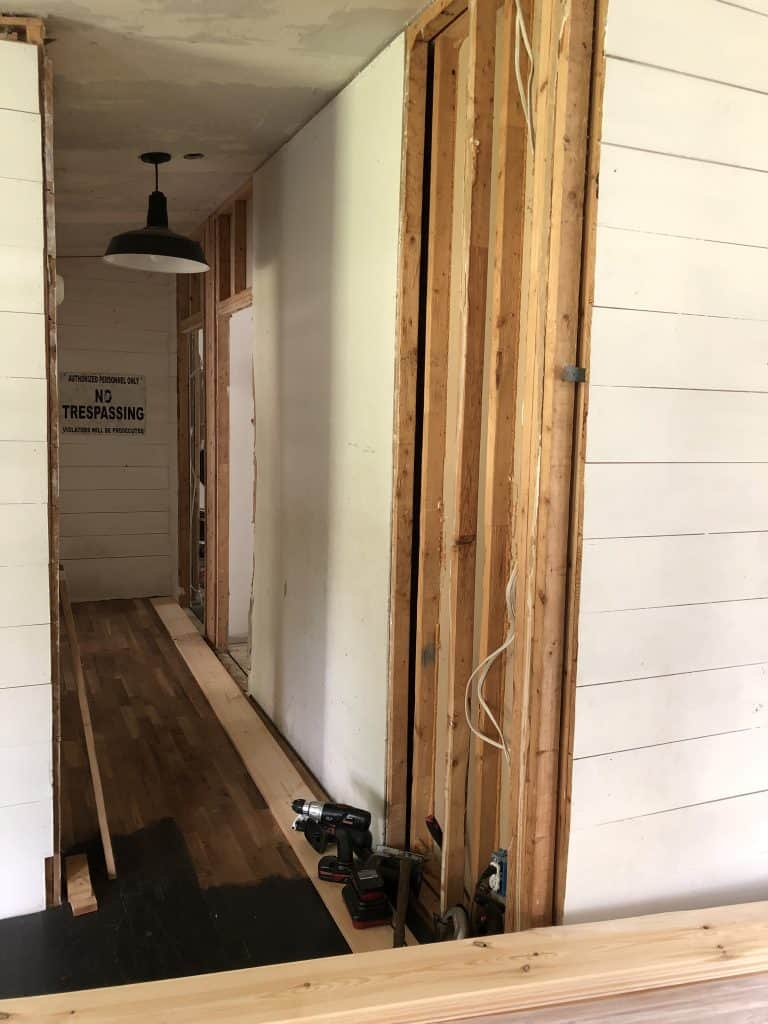 Shiplap a Mobile Home Hallway