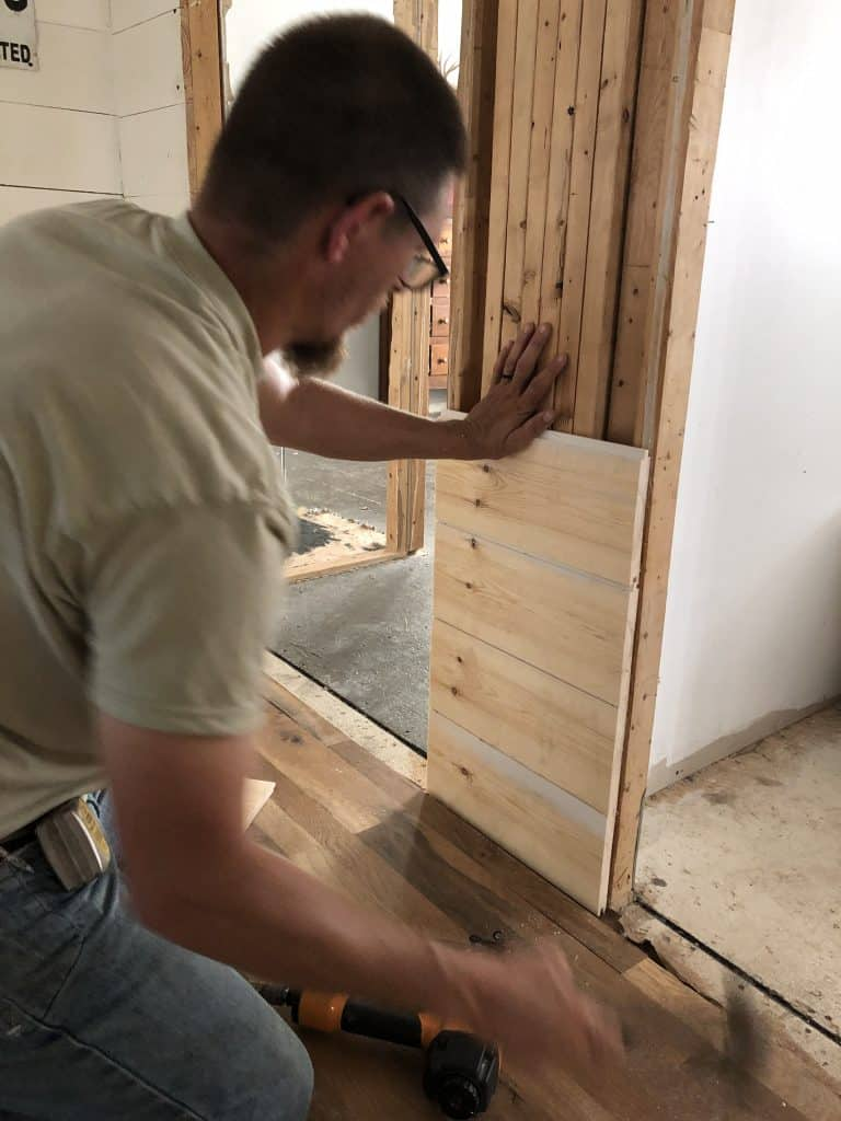 How to atttach shiplap to a mobile home wall