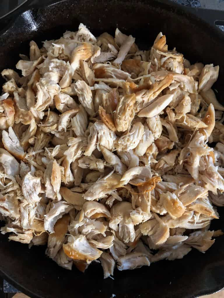 Shredded chicken cooked in butter