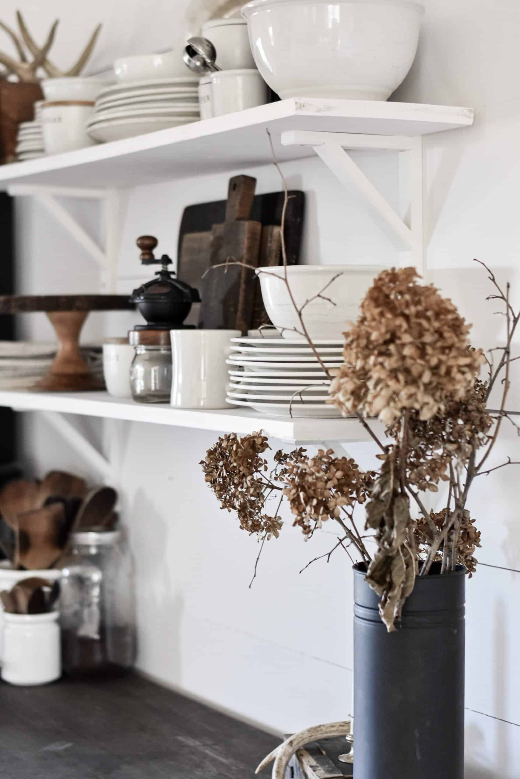 Farmhouse Style Open Kitchen Shelves   How to Style   Simple   Industrial   Wood and White   DIY Open Kitchen Shelving