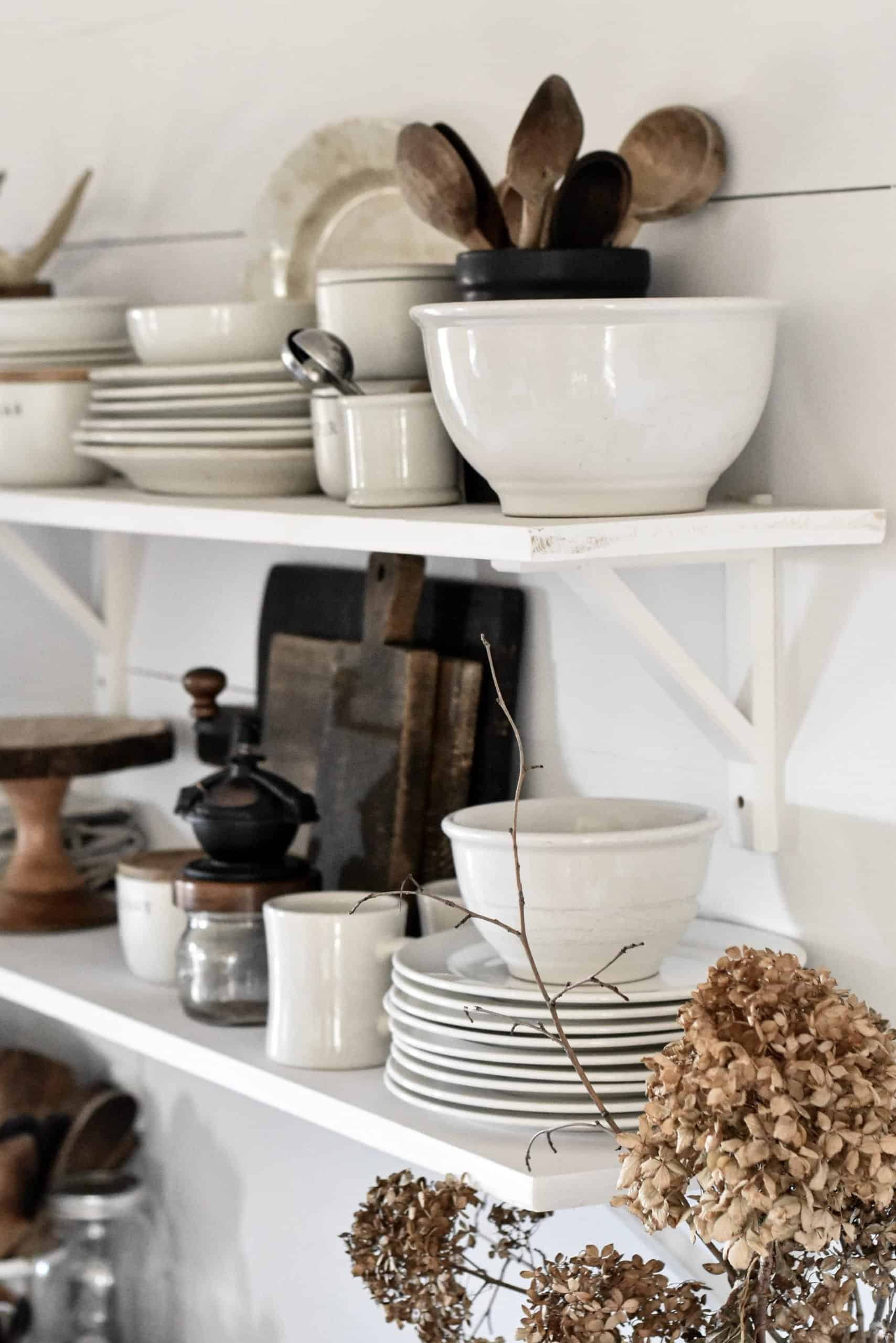 How To Decorate Open Kitchen Shelves Rocky Hedge Farm