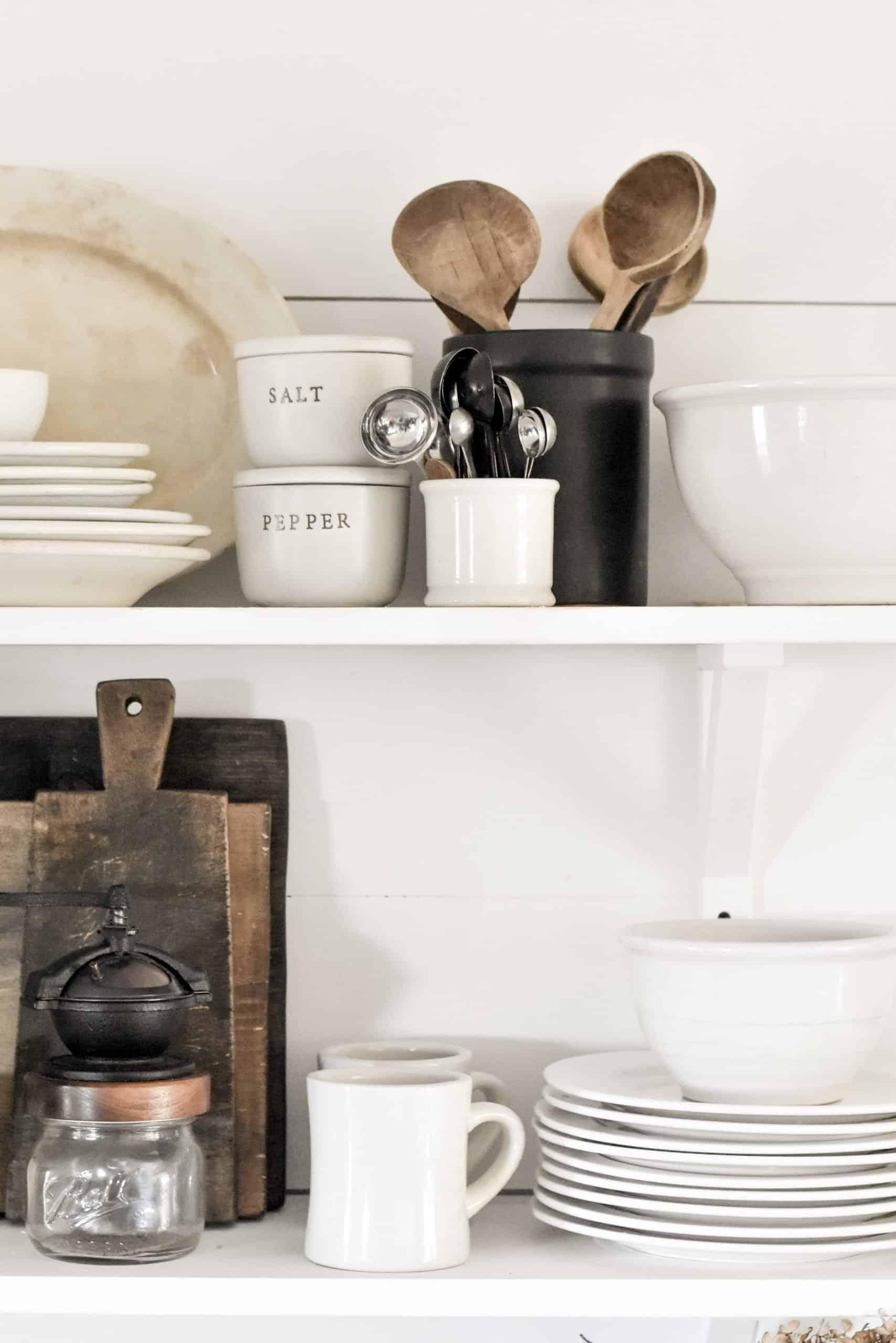 Simple Farmhouse Rustic Kitchen Shelves