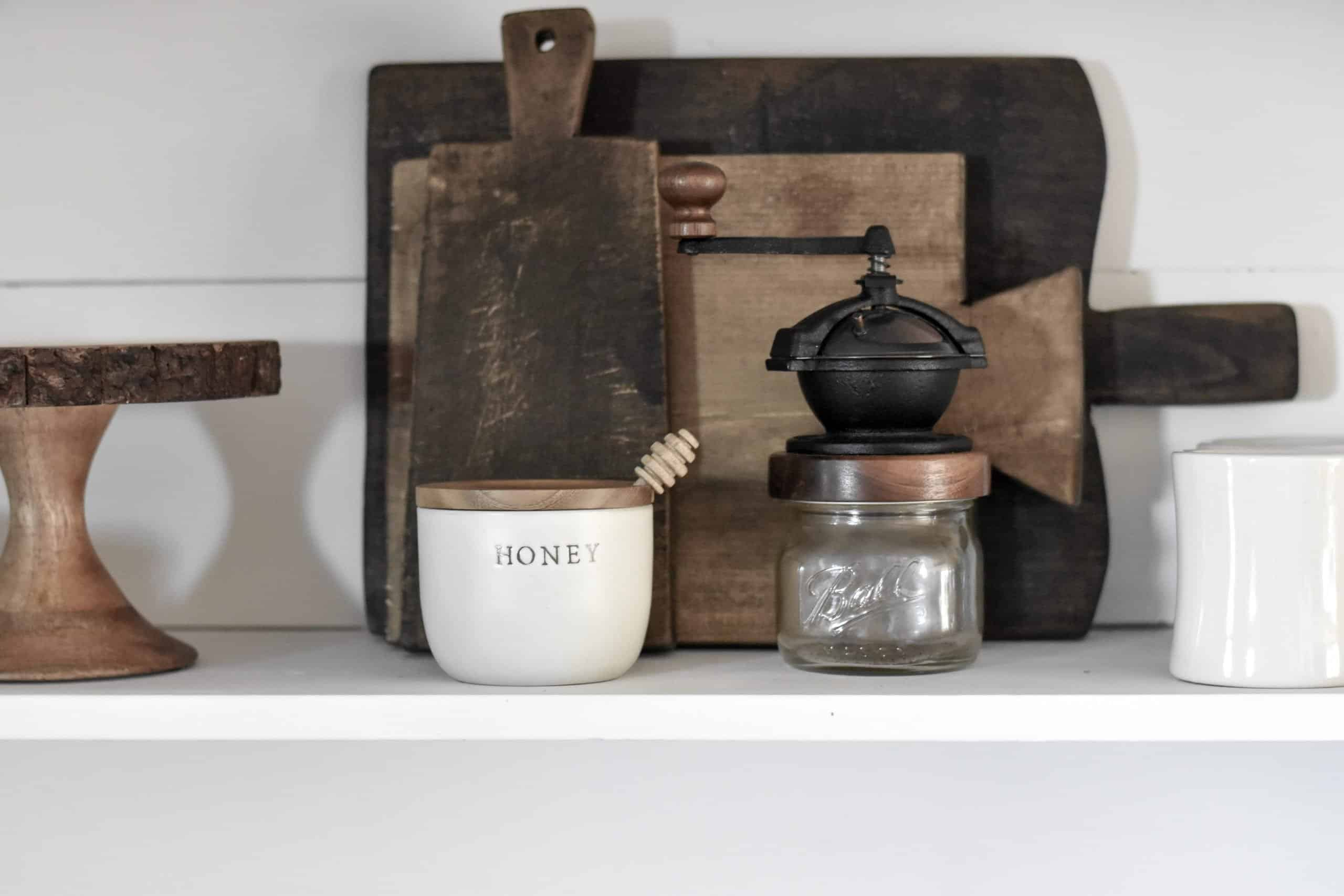 DIY Cutting Boards on Farmhouse Style Rustic Industrial Shelves