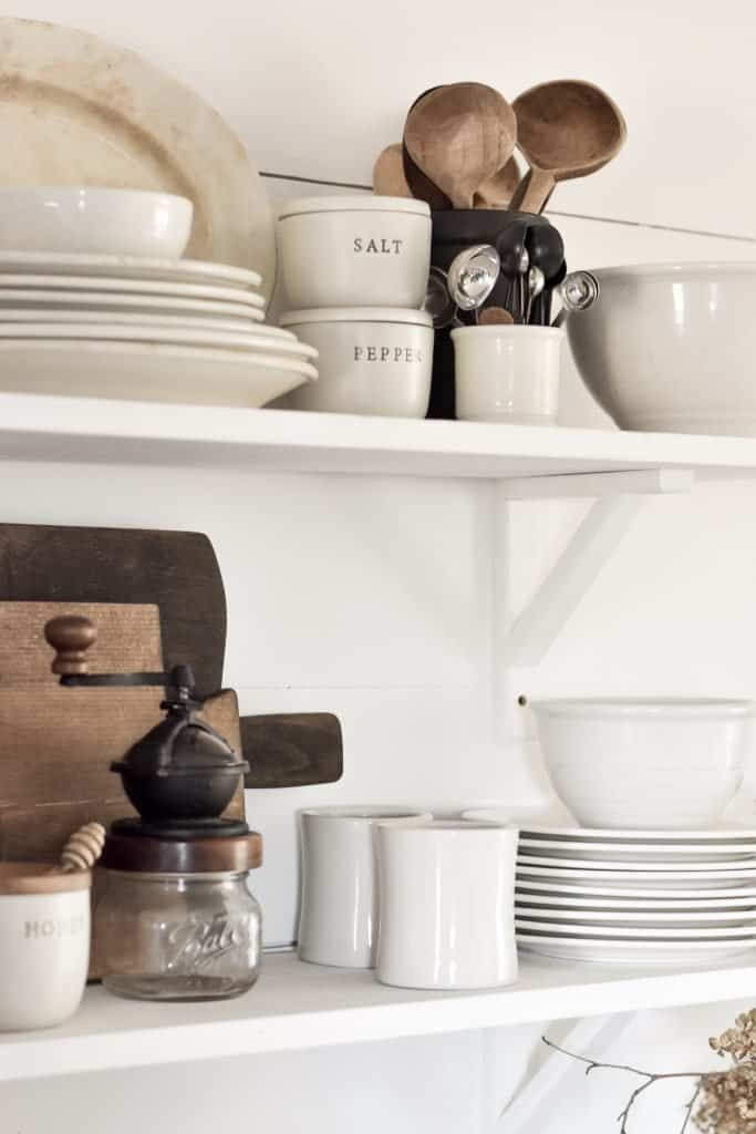 How to Style Farmhouse Style Open Shelving