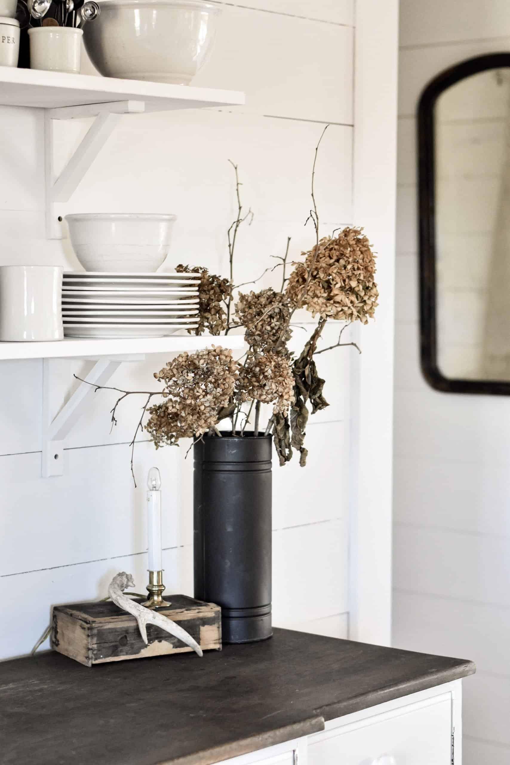 Fall Farmhouse Kitchen Shelf Styling