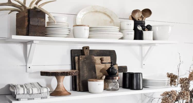 How to Style and Decorate Rustic Farmhouse Industrial Kitchen Shelves