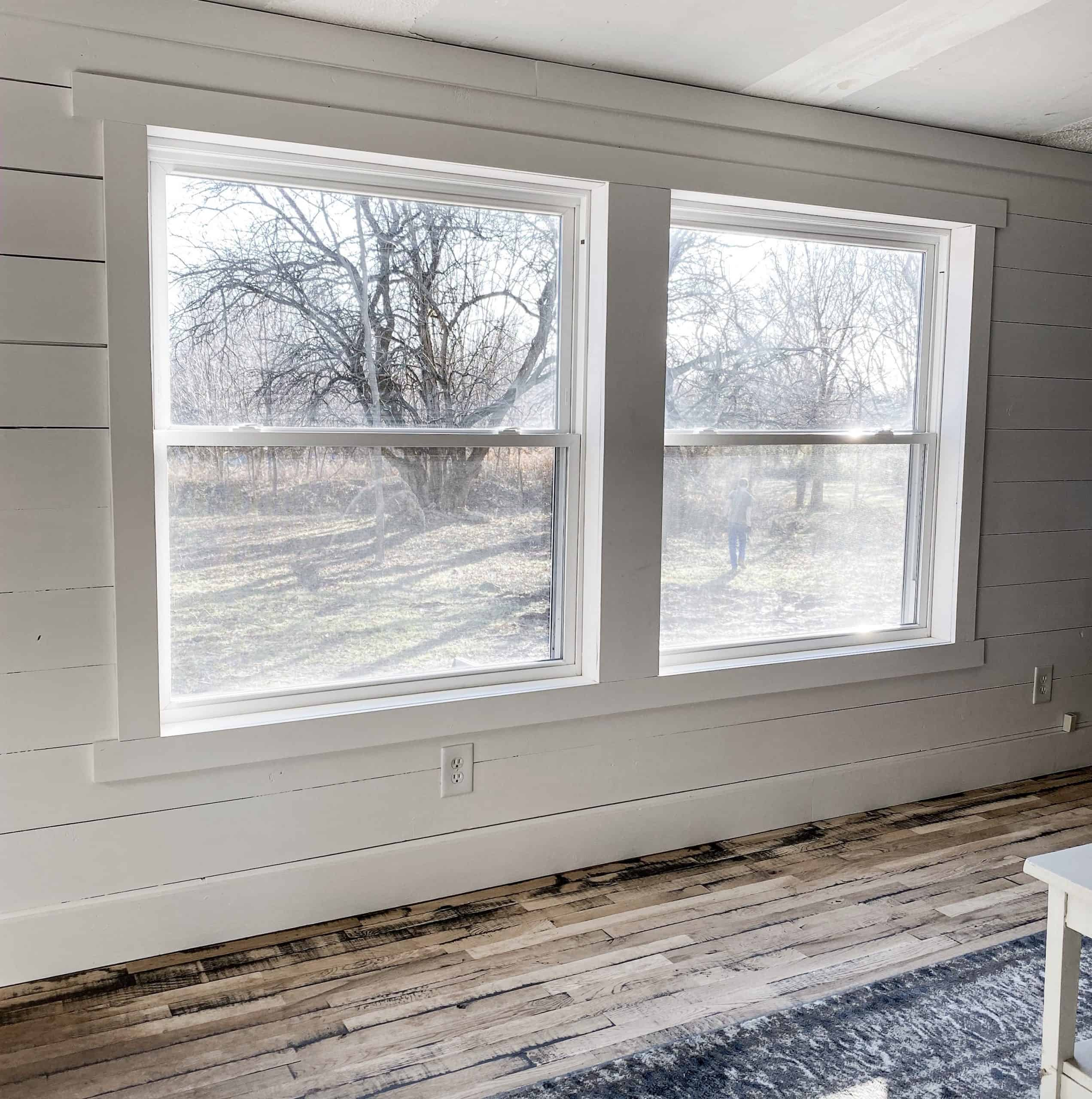 Mobile Home Double Wide Trim Windows and Shiplap Walls Painted in Snowbound by Sherwin Williams