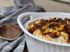 loaded roasted cauliflower with cheese and bacon