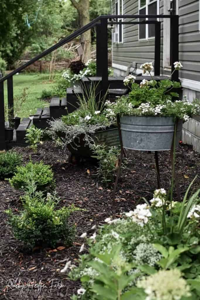 rustic garden washtub planter