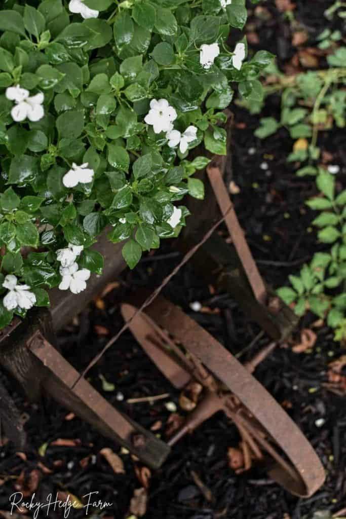 rustic garden wheelbarrow